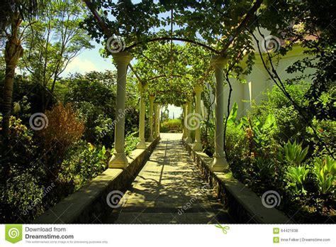 Jerusalem Garden Arbor New Location Beautiful Pergola Passage In The Summer Garden Stock Photo