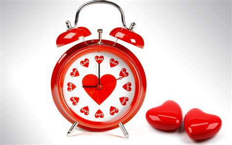 wallpaper love heart red valentines day alarm clock