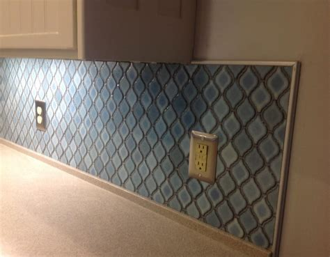 Tile Backsplash Adhesive Mat hometalk arabesque blue tile backsplash using an