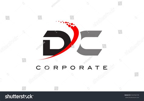 layout with logo dc modern letter logo design red stock vector 594766739