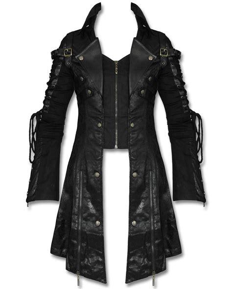 Leather Jaket Black Ariel mens steunk jacket faux leather black posion