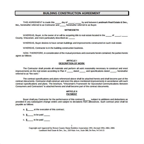 Sle Construction Agreement Template 6 Free Documents Download In Pdf Word Building Contractor Agreement Template