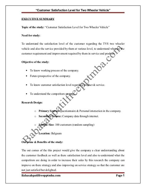 Customer Satisfaction Letter Format A Project Report On Customer Satisfaction Level For Two Wheeler Vehic