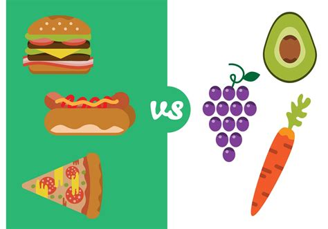 food vector healthy food versus bad food download free vector art