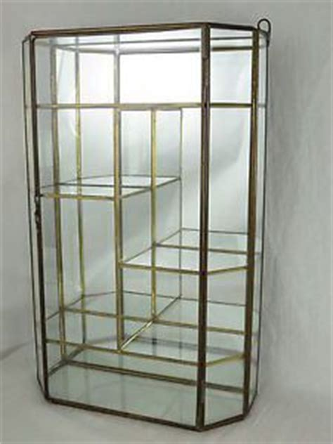 Glass And Brass Wall Curio Cabinet by Vintage Brass Glass Curio Cabinet Display Door