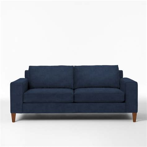west elm velvet sofa west elm york sofa ink blue performance velvet tapered