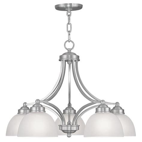Nickel Chandelier Lighting Livex Lighting 5 Light Brushed Nickel Chandelier With Satin Glass Shade 4225 91 The Home Depot