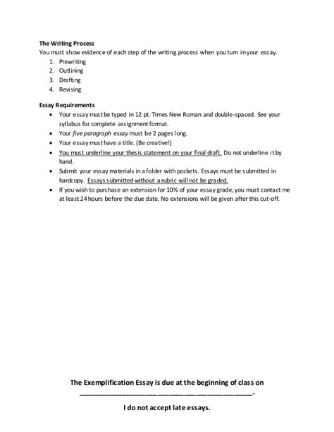 Exles Of Exemplification Essays by Exemplification Essay Prompt