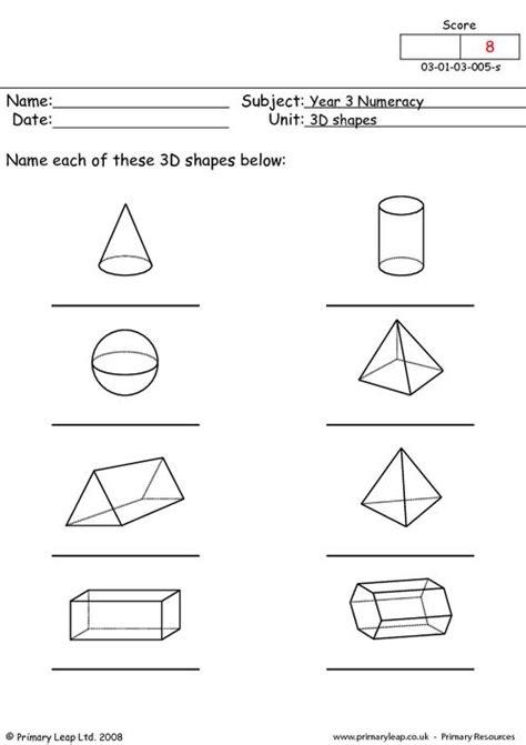 primaryleap co uk 3 d shapes worksheet