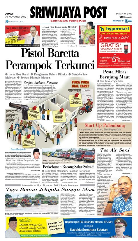 Eceran Kasur Palembang sriwijaya post edisi jumat 30 november 2012 by yulius