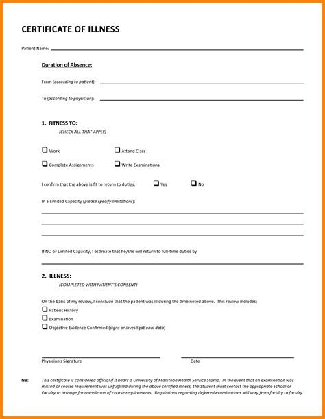 Medical Certificate Template For Sick Leave Un Mission Resume