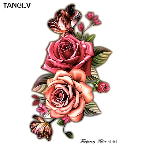 fake rose tattoos big small flower 3d flash temporary tattoos s