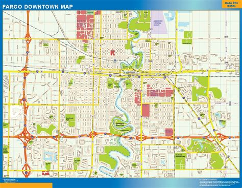 downtown map fargo downtown map netmaps usa wall maps shop