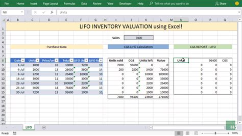 Lifo Inventory Valuation In Excel Using Data Tables Pakaccountants Com Lifo Excel Template
