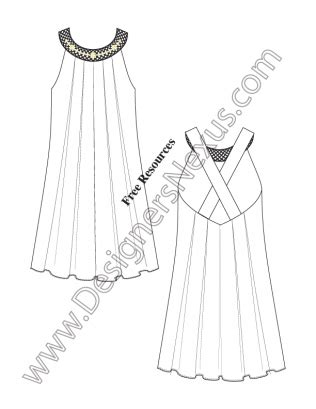 Drees Lace Kecil Tipe H by Inverted Pleat Tent Dress V15 Fashion Technical Drawing