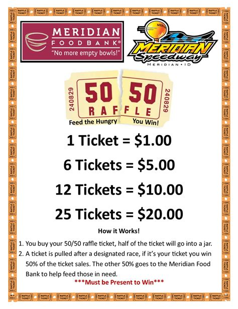 Speedway 50 50 Meridian Food Bank 50 50 Raffle Tickets Template