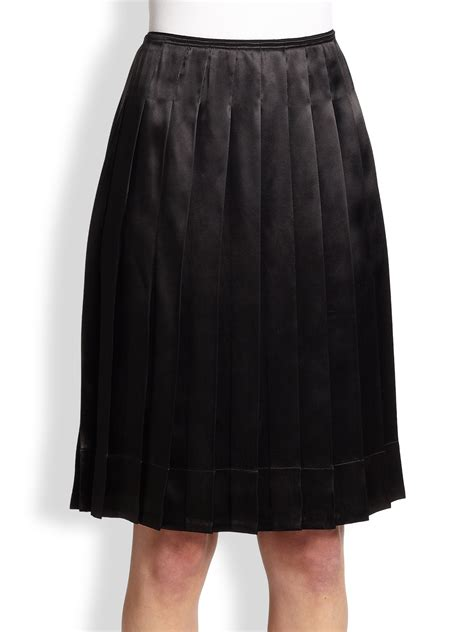 marc pleated satin skirt in black lyst