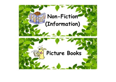 story themes ks1 reading book corner labels library ks1 2 leaves theme