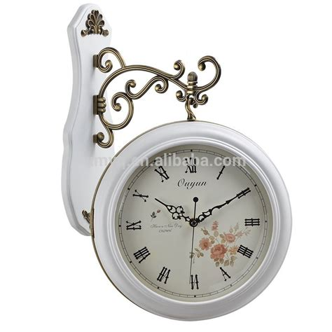 Hanging Wall Clock White 1 decor wood white sided station clock wall clock