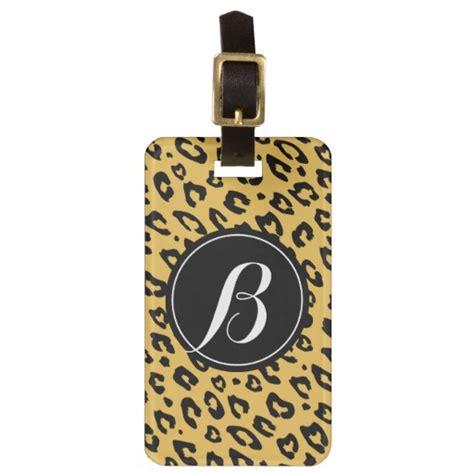 printable monogram luggage tags personalized monogram leopard print luggage tag zazzle