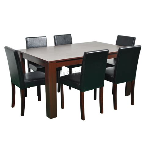 Leather Dining Table Chairs Foxhunter Wooden Dining Table And 6 Pu Faux Leather Chairs Set Furniture Walnut Ebay