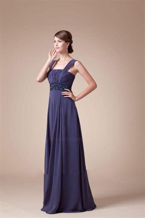 a line beaded floor length chiffon bridesmaid dresses
