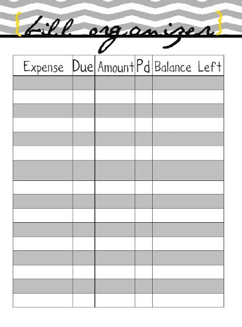 monthly bill organizer new calendar template site
