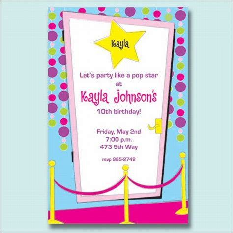 printable pop star party invitations pop star party invitations paperstyle