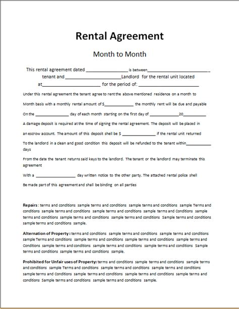rent to own lease agreement template free 28 images