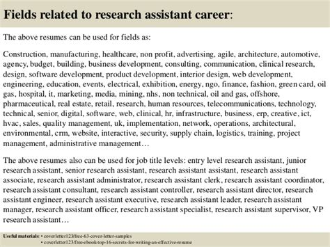 Cover Letter For Application Research Assistant top 5 research assistant cover letter sles