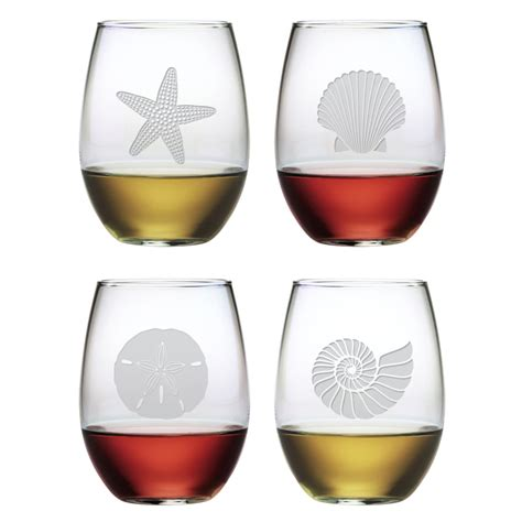 Etched Wine Glasses Seashore Coastal Etched Stemless Wine Glasses