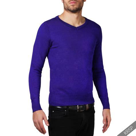 Sweater Wanita Fashion Garsel 7 mens soft cotton knit plain v neck fashion jumper knitwear sweater pullover work ebay