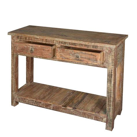 Distressed Console Table Rustic Reclaimed Wood Naturally Distressed Console Table