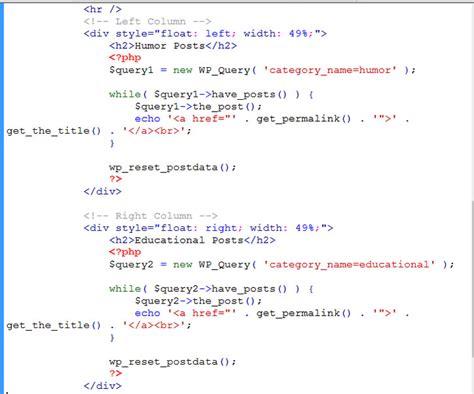 wordpress tutorial loop wordpress page with two loops learn web tutorials