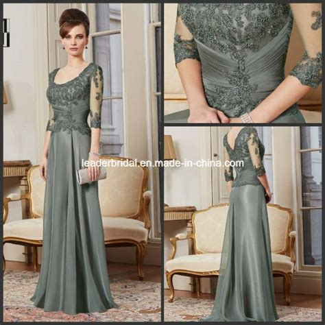 Mackandphil Aline Green Size 23 3 4 sleeves lace green a line scoop neckline