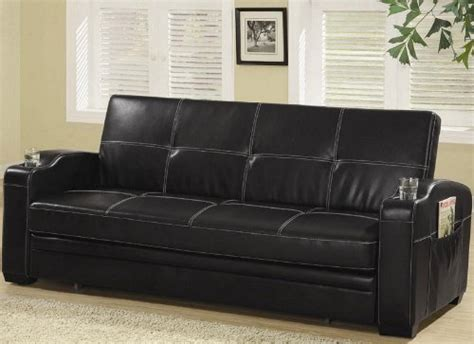 Cheap Faux Leather Sofa Beds Gt Cheap Black Faux Leather Sofa Bed W White Stitching By Coaster Home Kitchen Shopping In Us