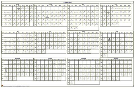Calendrier Annuel 2015 Calendrier 2015 224 Imprimer Annuel Avec Les F 234 Tes Format