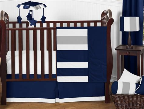 navy blue crib bedding set navy blue and gray stripe baby bedding 11pc crib set by