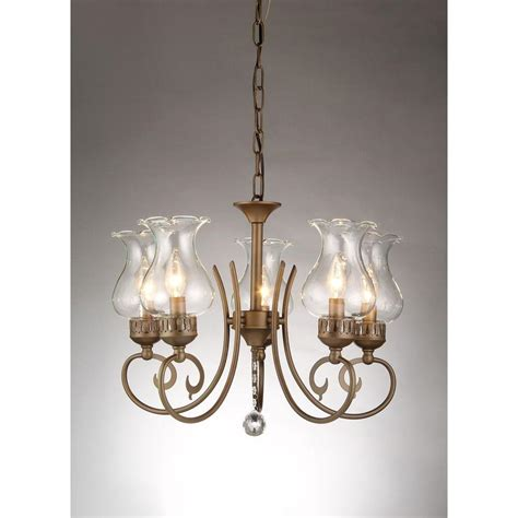 Home Depot Chandelier Shades Bailona 5 Light Antique Bronze Indoor Glass Shade Chandelier Rl8091 The Home Depot