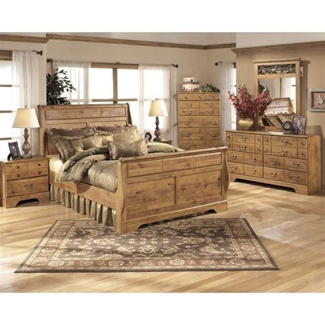 ashley sleigh bedroom set ashley bittersweet 6 piece wood king sleigh bedroom set in