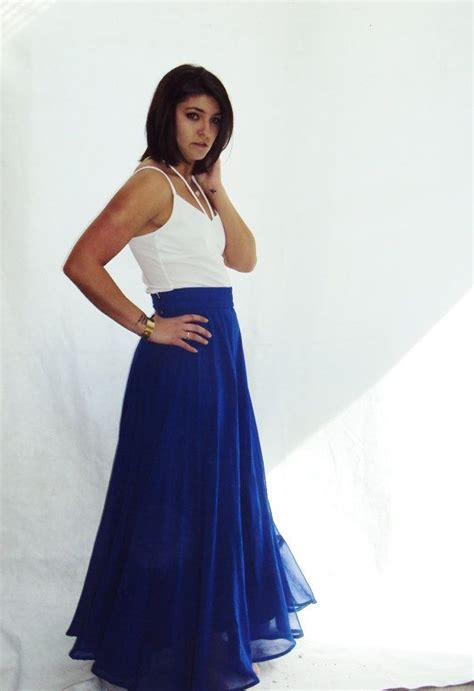 vintage silk chiffon maxi skirt royal blue circle