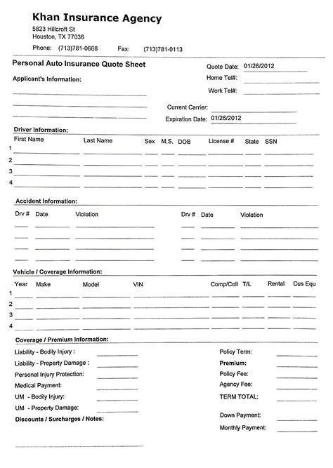 home insurance quote sheet template 5 yaruki up info