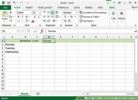 How To Create A Family Meal Plan In Excel With Pictures Meal Plan Template Excel
