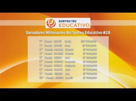 ganadores de sorteo tec del 19 de marzo del 2016 28 186 sorteo educativo sorteos tec youtube