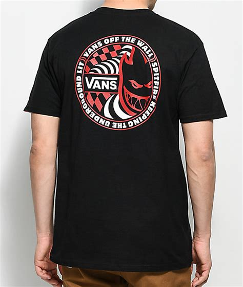 T Shirt Skate Vans vans x spitfire black t shirt