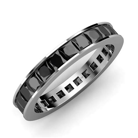 Princess Universe 15 Mm Black 3 15 3 78 ct tw princess black channel set 14k gold eternity band ebay