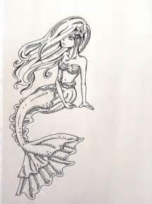 Mermaid Ariel Outline by Mermaid Outline By Owlliine On Deviantart