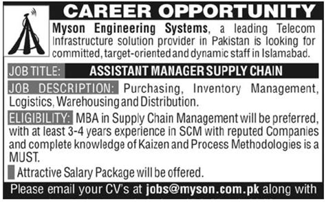 Mba Supply Chain Management Salary In Pakistan by Myson Engineering Systems Required Assistant Manager