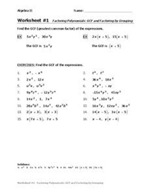 Factoring Polynomials Gcf Worksheet by Factoring Polynomials Gcf And Factoring By Grouping 9th 12th Grade Worksheet Lesson Planet