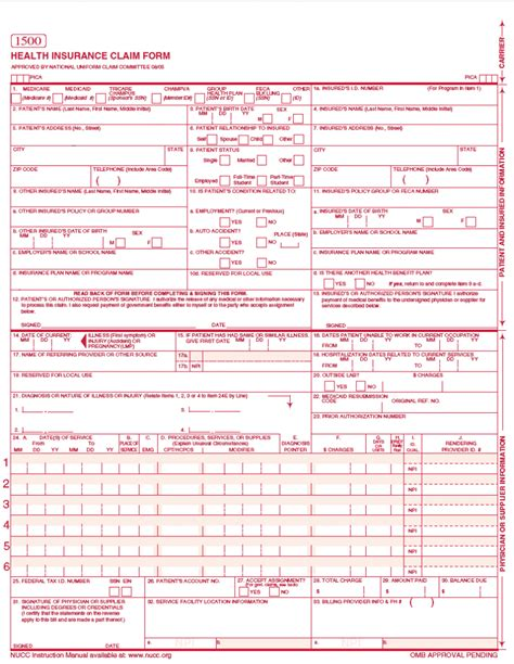 1500 claim form template sle completed cms 1500 form pictures to pin on